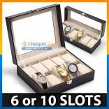 Premium PU Leather Watch Display Storage Box Case 10 Slots or 6 Slots