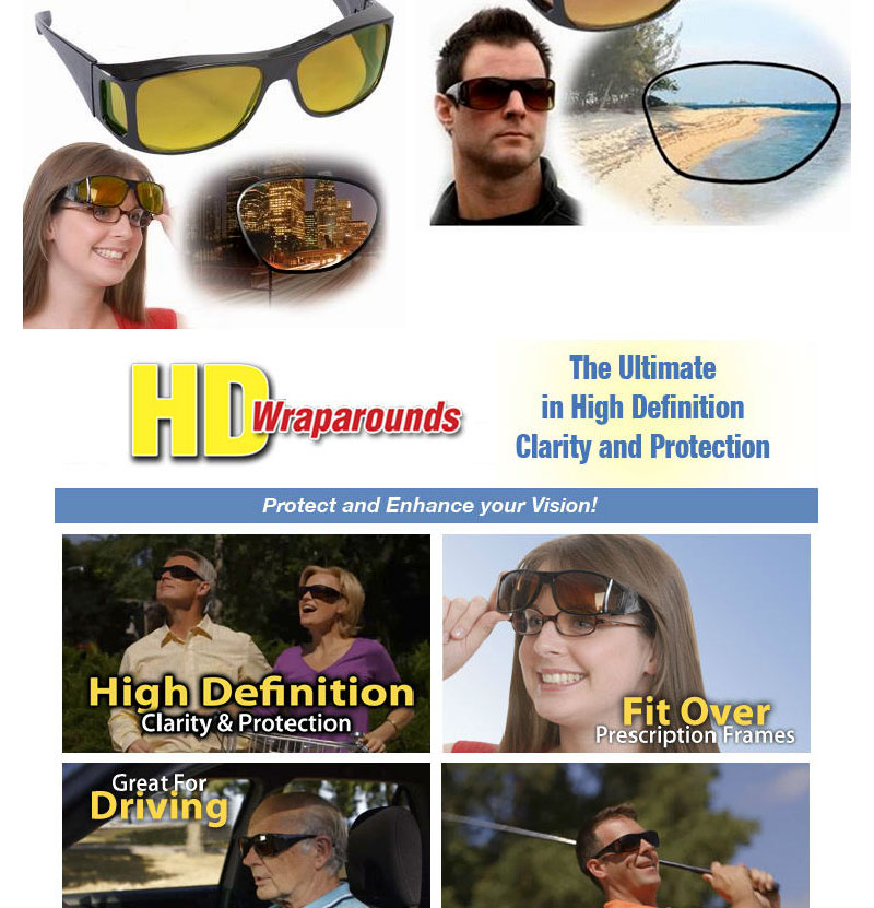 d8e9522ca73 Product Descriptions  - Enhance your day and night vision with a little  help from these HD Vision Wrap Around Sunglasses Set.