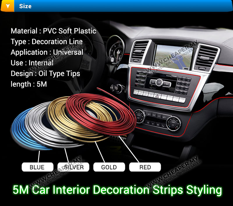 5m car interior decoration strips styling auto accessories 11street malaysia others. Black Bedroom Furniture Sets. Home Design Ideas