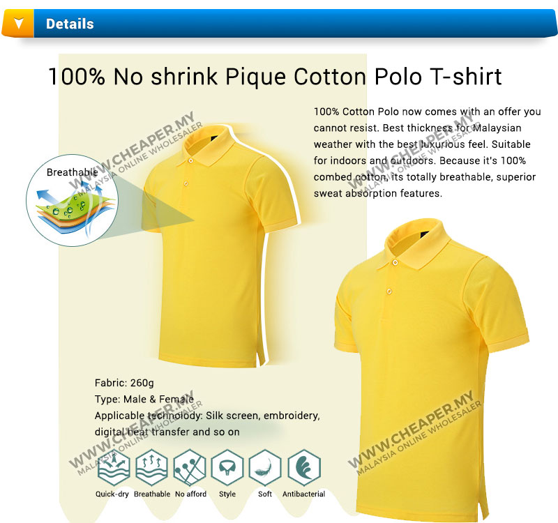 100 no shrink pique cotton polo t shirt 5 colors up to for 100 cotton t shirts shrink
