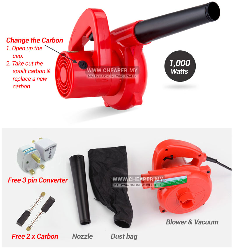 Portable 2 In 1 Powerful Electric Blower Vacuum Dust 1000w