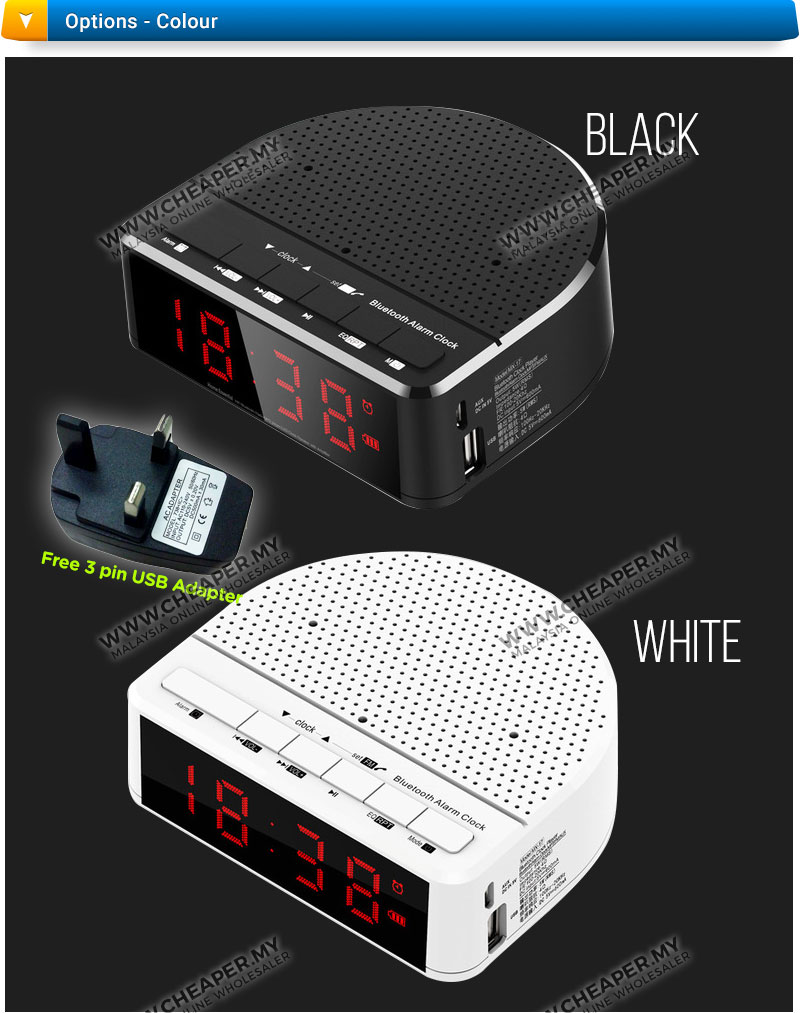 bluetooth wireless speaker with alarm clock radio memory card 11street malaysia speakers. Black Bedroom Furniture Sets. Home Design Ideas