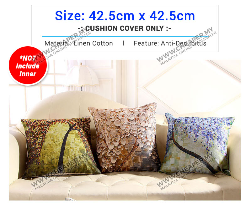 3d painting trees flowers linen printed pillow case cushion